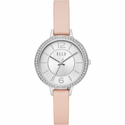 ELLE Opera 華麗晶鑽女錶-銀x粉紅/34mm ELL25007
