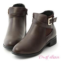 D+AF 個性首選.側鬆緊金屬釦環繞帶短靴*咖