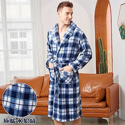 睡袍 紳士格紋 極暖高克重超柔軟水貂絨男性睡袍(70221-10藍)蕾妮塔塔