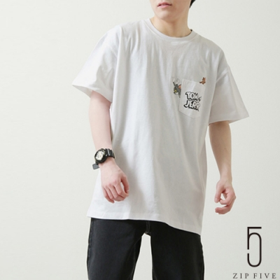 ZIP日本男裝 湯姆貓與傑利鼠口袋TEE (3色)