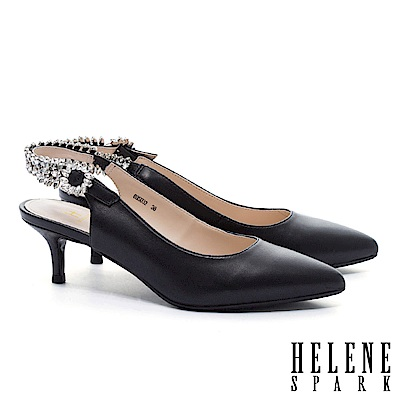 高跟鞋 HELENE SPARK 華麗晶鑽繫帶羊皮尖頭高跟鞋-黑