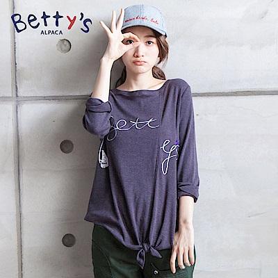 betty's貝蒂思 簡約betty s刺繡下綁結T-shirt(深灰)