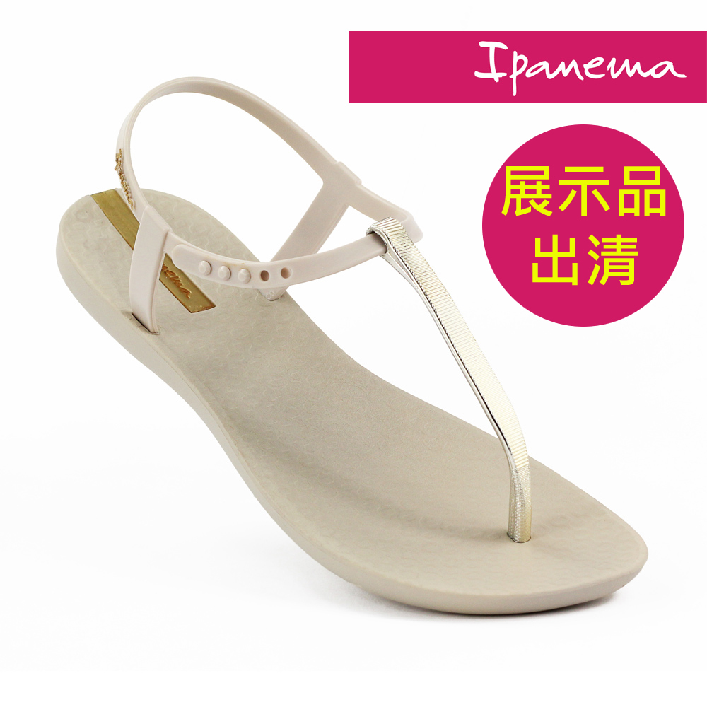 IPANEMA 女典雅奢華T字涼鞋-米色/金色