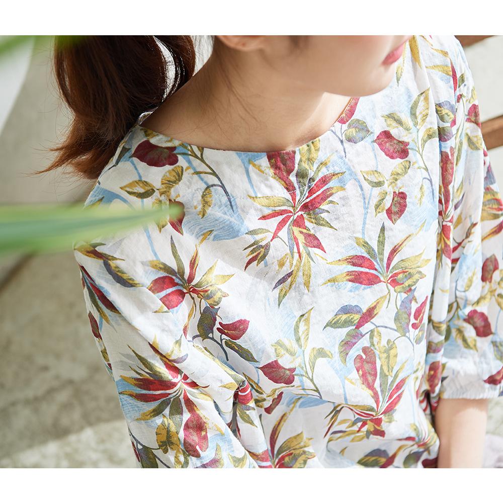 慢 生活 可調抽繩樹葉印花上衣-白 @ Y!購物