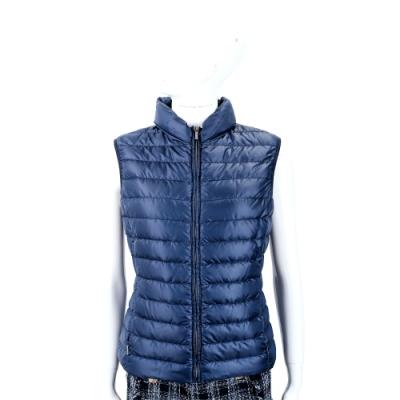 Max Mara-WEEKEND 收納式連帽深藍絎縫羽絨背心