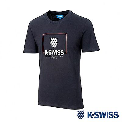 K-SWISS KS Logo W/Frame Tee印花短袖T恤-男-黑