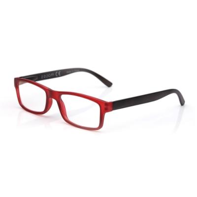 【 Z·ZOOM 】老花眼鏡/平光眼鏡 抗藍光防護系列 時尚矩形粗框款(紅框灰身)