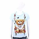 MOSCHINO 花朵鞦韆泰迪熊水藍色絲質T恤