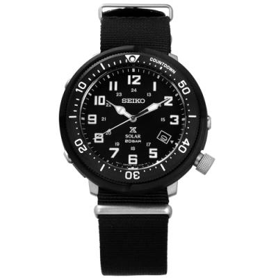 SEIKO 精工 PROSPEX 太陽能電力防水潛水日期帆布手錶-黑色/44mm