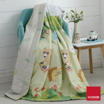 La mode寢飾 動物好森音環保印染100%精梳純棉涼被(單人)
