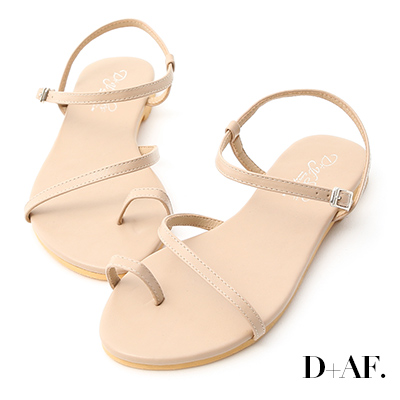 D+AF 盛夏百搭.套指斜帶繞踝平底涼鞋*杏
