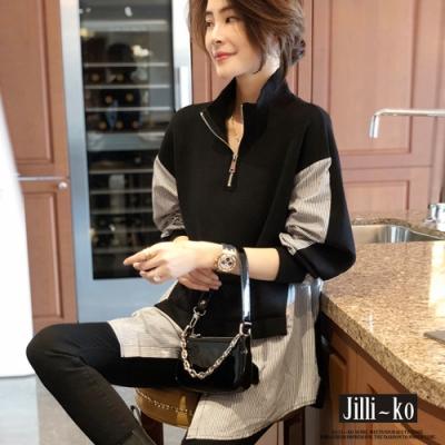 JILLI-KO 拉鍊高領假兩件拼接寬鬆上衣- 黑色