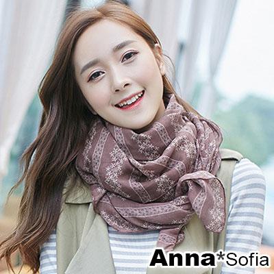 AnnaSofia 雪花排菱 拷克邊韓國棉圍巾披肩(灰褐紅色)