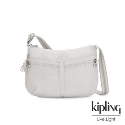 Kipling 探索亮銀灰雙拉鍊前袋肩背包-IZELLAH
