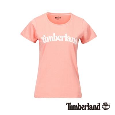 Timberland 女款粉色經典Logo有機棉短袖T恤|B4510