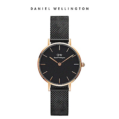 DW 手錶 官方旗艦店 28mm玫瑰金框 Petite 寂靜黑米蘭金屬錶