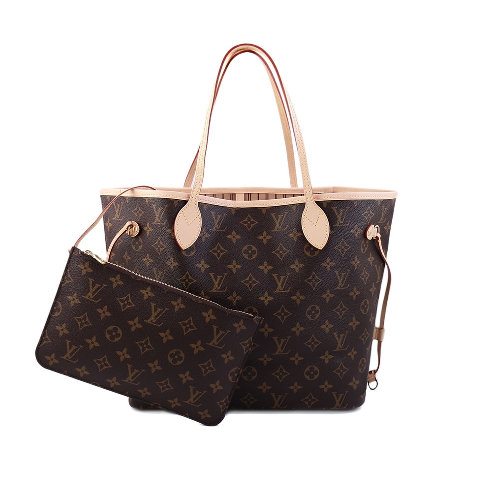 Louis Vuitton Monogram Neverfull MM 肩背購物包(M40995-米色)