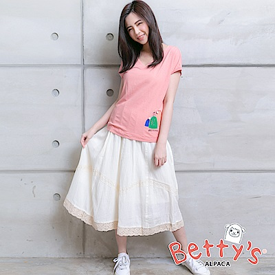 betty's貝蒂思 氣質鏤空蕾絲拼接長裙(米白)