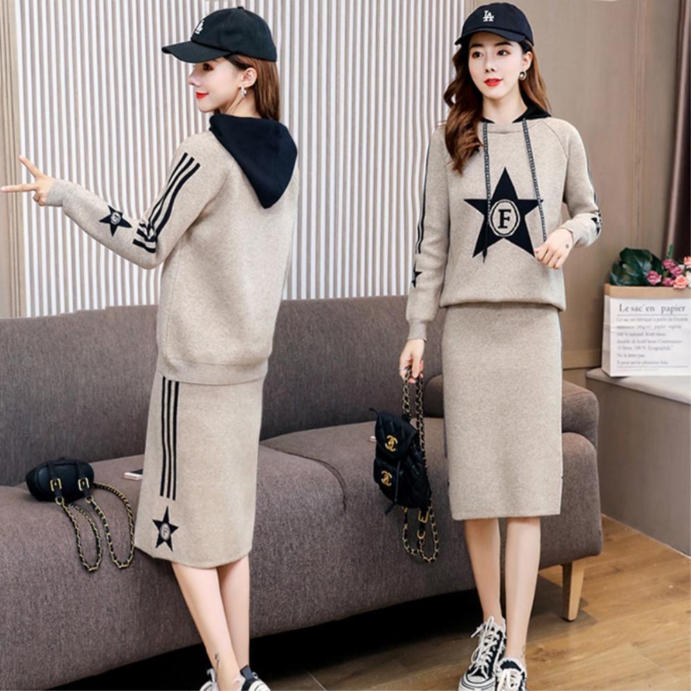 DABI 韓系休閒星星印花連帽衫側條紋套裝長袖裙裝