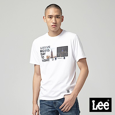Lee Day to Night照片印刷短袖圓領TEE-白