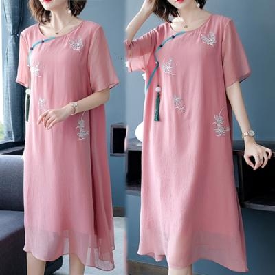 【韓國K.W.】(現貨)獨家款時尚穿搭中國風刺繡洋裝(共1色)
