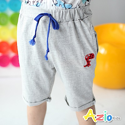 Azio Kids 短褲 星星恐龍配色綁帶短褲(灰)