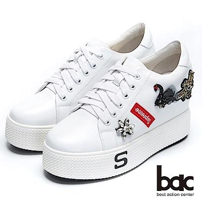 【bac】街頭運動 - 童趣減齡鑽飾綁帶超厚底懶人休閒鞋