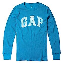 GAP 經典LOGO標誌長袖T恤-水藍色