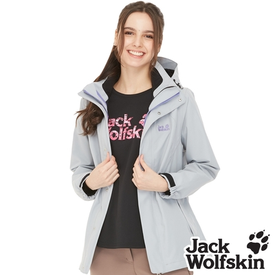 【Jack wolfskin 飛狼】女 Air Wolf 防風防水透氣外套 單件式『淺灰』