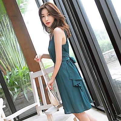雪紡氣質波浪裙襬細節腰綁帶設計裙-OB大尺碼