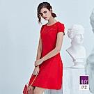 ILEY伊蕾 立體線條剪裁花朵貼布繡洋裝(紅)