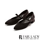 Fair Lady毛呢格紋瑪莉珍繫帶尖頭跟鞋 黑格紋