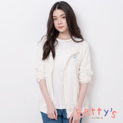 betty's貝蒂思 休閒風縷空束口連帽外套(白色)