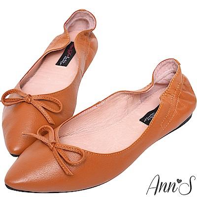 Ann'S氣質V剪裁芭蕾蝴蝶結真皮尖頭平底鞋-棕