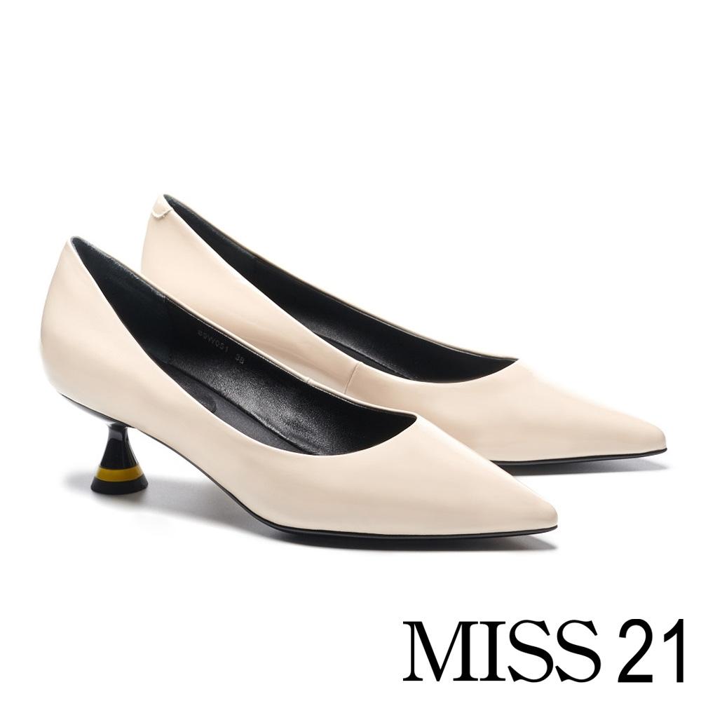 高跟鞋 MISS 21 極簡時尚液態光感尖頭高跟鞋-米