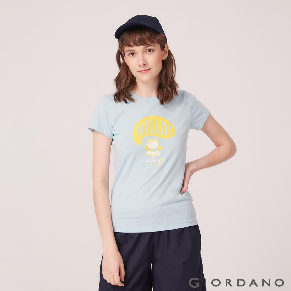GIORDANO 女裝SUN AND SEA系列印花短袖T恤-22 夢想藍