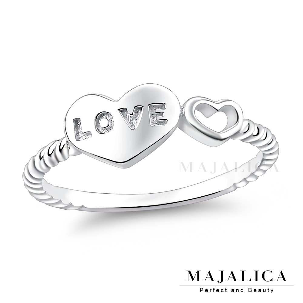 Majalica愛心LOVE字牌女戒尾戒925純銀戒指推薦品牌 抗過敏特性 單個價格(MIT)