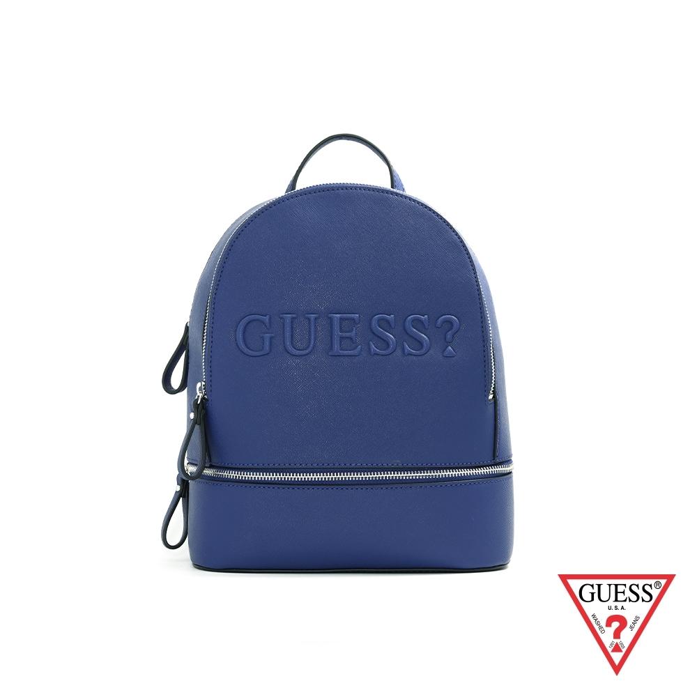 GUESS-女包-簡約素面LOGO壓紋迷你後背包-藍
