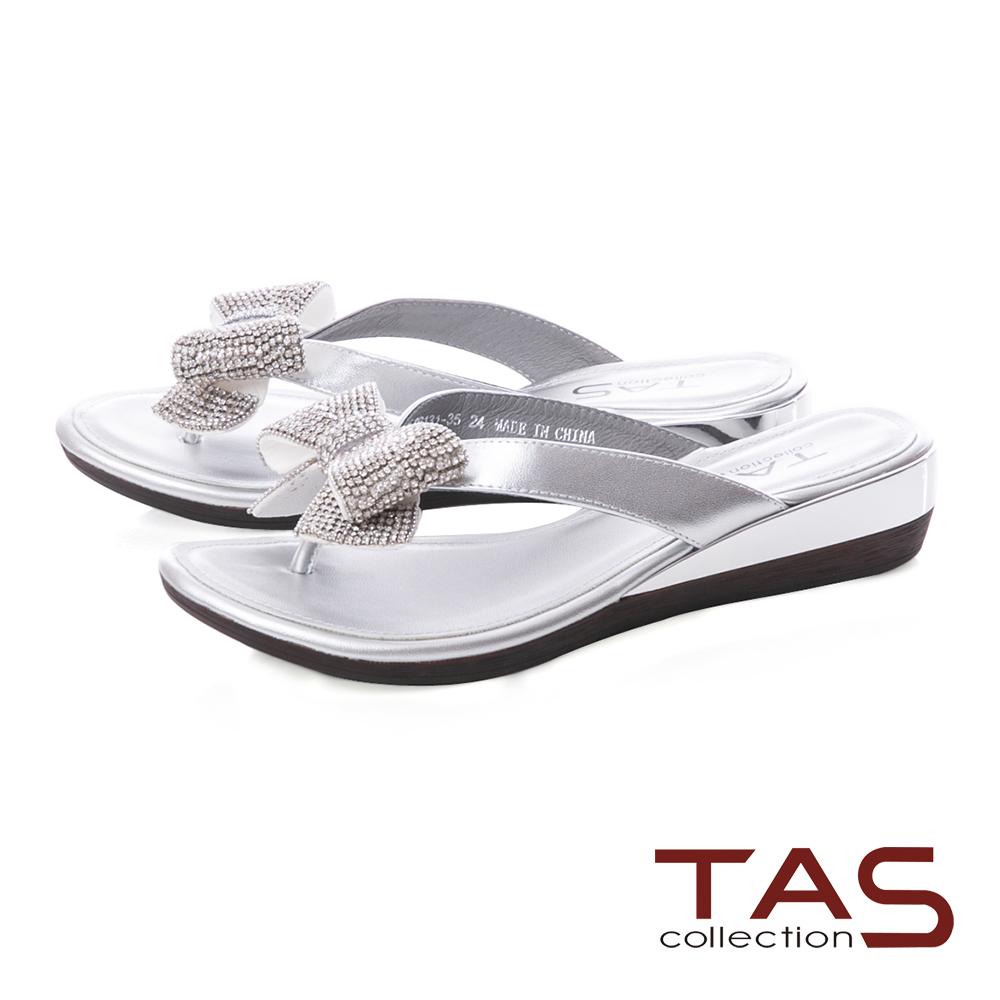 TAS 閃耀水鑽蝴蝶結夾腳拖鞋-閃耀銀