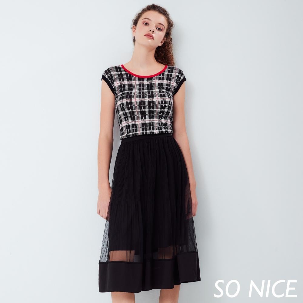SO NICE時尚格紋針織假兩件洋裝