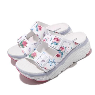 Skechers 涼拖鞋 Max Cushioning 女鞋 厚底 增高 夏日配色 耐磨 花卉 外出 白 彩 140119WMLT