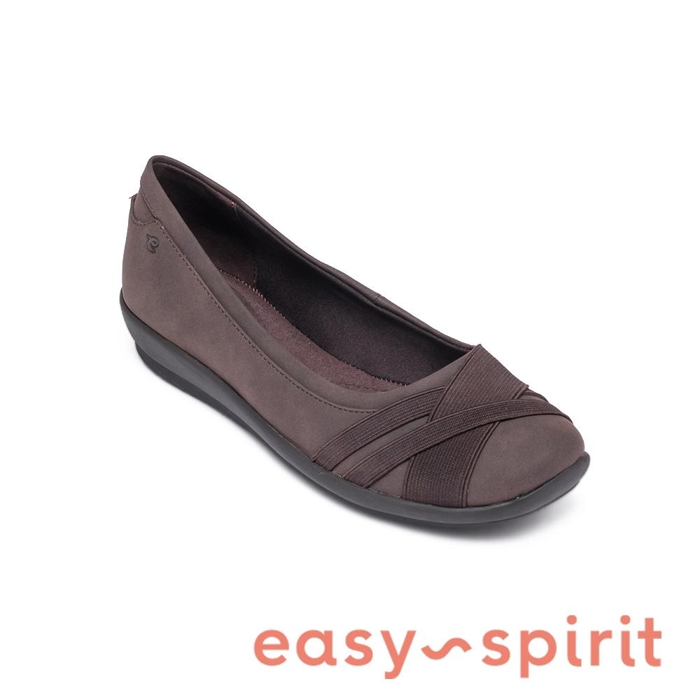 Easy Spirit-seACASIA3-A 活力舒適 彈力帶交叉拼接休閒平底鞋-咖啡色