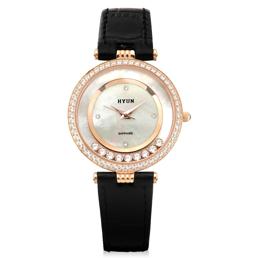 HYUN炫 珍珠母貝環繞鑽石皮革錶-玫瑰金