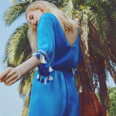AIR SPACE 流蘇造型純色連身短褲(藍)