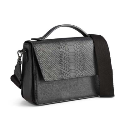 MARKBERG Luna 丹麥手工牛皮時尚拼接手提包/斜背包 (鱗紋黑)