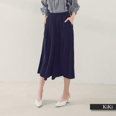 【KiKi】拉鍊設計百搭簡約寬褲-長褲(二色/版型合身)