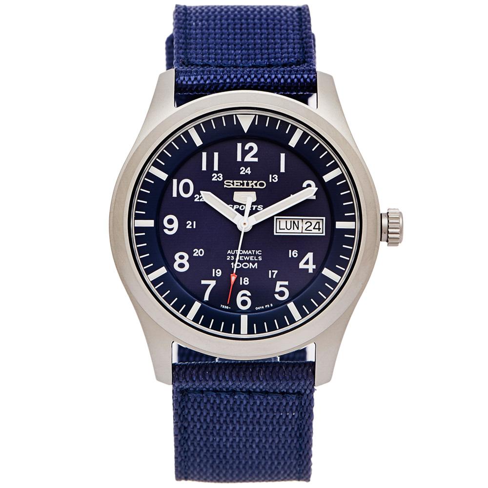 SEIKO 盾牌5號的帆布錶帶機械手錶(SNZG11K1)-藍面x藍色/42mm