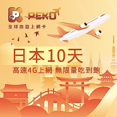 【PEKO】日本上網卡 10日高速4G上網 無限量吃到飽 優良品質高評價 快速到貨