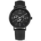 TIMEX 天美時 羅馬刻度 三眼 礦石強化玻璃 日期 星期視窗 真皮手錶-黑色/41mm