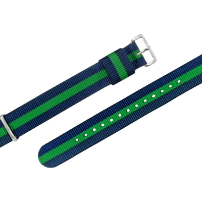 Watchband DW 各品牌通用 不鏽鋼扣頭 尼龍錶帶-藍x綠